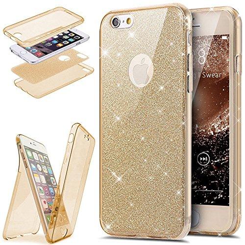 Etsue Coque Compatible avec iPhone 7 Plus/8 Plus Etui Intégral 360 Degres Full Body Protection Coque Bling Brillant Glitter Transparent Coque Avant arrière Souple TPU Coque Etui pour iPhone 7/8 Plus