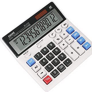 Calculator, ONXE Standard Function Electronics Desktop Calculators, Solar Dual Power, Big Button and 12 Digit Bold Font La...