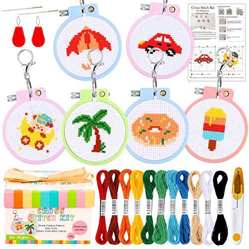 Caydo Juego de 6 kits de punto de cruz para principiantes, con patrones simples, para niños, kit de principiantes, punto de aguja para adultos y niños