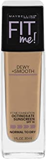 Maybelline New York Fit Me Dewy + Smooth Foundation, Sun Beige, 1 Fl. Oz (Pack of 1) (Packaging May Vary)