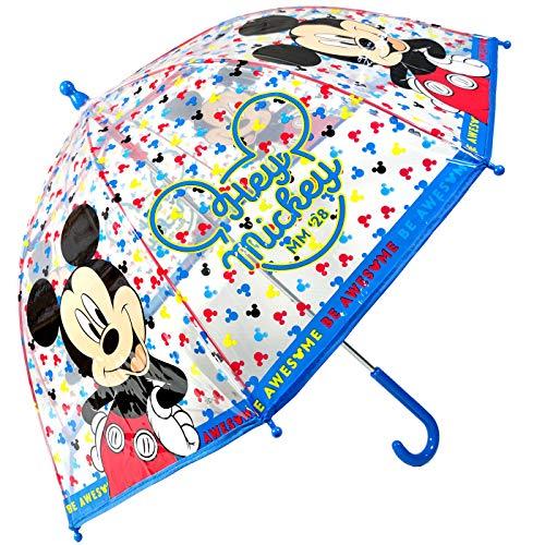 Paraguas Mickey Paraguas Transparente Cúpula Infantil Paraguas Fibra de Vidrio Resistente Antiviento Paraguas Niña Niño 64cm