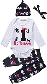 4Pcs Baby-Girls-Clothes-Halloween-Outfit,Infant Newborn My First Halloween Pumpkin Rompers
