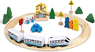 Lydaz Wooden Train Tracks Set with Magnetic Battery Operated Train for Kids Toddler Age 3 and Up Compatible with Major Brands