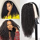 U Part Human Hair Wigs for Black Women ,Aomllute Afro Kinky Curly Hair 2x4 U Shape Machine Made Wig 18 inch Brazilian Remy Human Hair Glueless Wig 150% Density