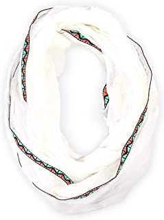 Women's Touch of Tribal Infinity Loop Gauze Scarf, White