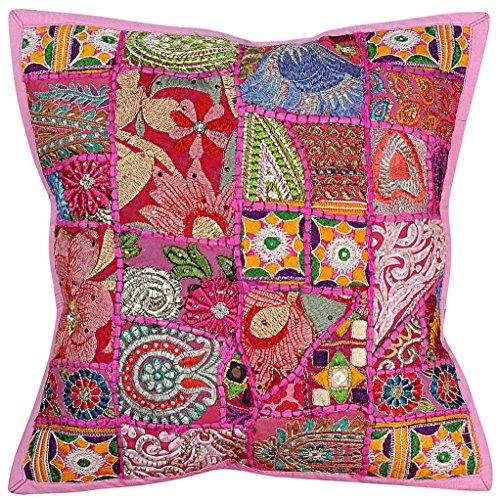 Vintage Hippie Stickerei Arbeit handgefertigte Kissenbezug Kissenbezug, Kissen einfügen, indische Kissenbezug, dekorative Sofa Boho Chic böhmischen werfen Kissen, indische Kissenbezug Baumwolle
