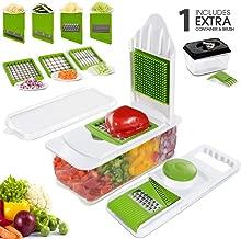 Mastertop Mandoline Slicer Spiralizer Vegetable Slicer - Food Slicer 7 In 1 Fruits and Vegetables Spiralizer with 7 Interchang 7 Interchangeable Stainless Steel Blades with 0.45L Food Storage Containe