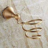 SEESEE.U - Secador de pelo, soporte de pared, estilo vintage, de cobre, para colgar en la pared, para el baño, estante de secador de pelo antiguo