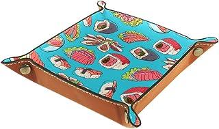 BestIdeas Panier de rangement carré de 20,5 × 20,5 cm, avec sushis dessiné à la main, boîte de rangement sur table pour la...