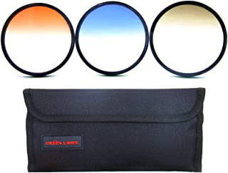 GREEN.L 67mm Color Graduated Neutral Density(ND4) Orange Blue Filter Slim Adjustable Filter Set for Digital Camera with Filter Pouch
