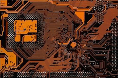 Stampa su Legno 100 x 70 cm: Computer Motherboard di Antonio Romero/Science Photo Library