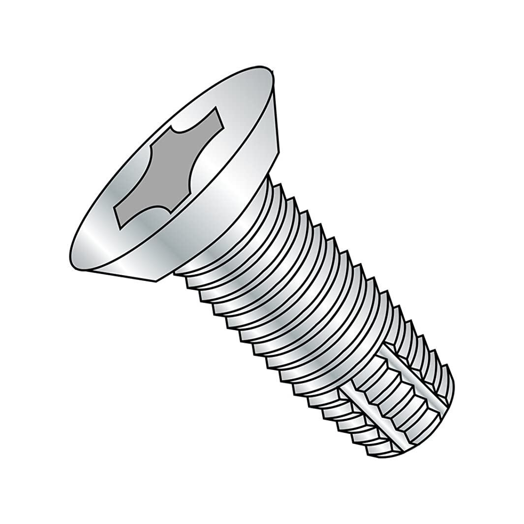 Steel Thread Cutting Screw, Zinc Plated, 82 Degree Flat Undercut Head, Phillips Drive, Type F, #12-24 Thread Size, 1-1/2