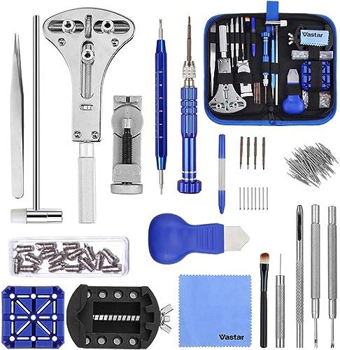 Vastar 177pcs Kit de Reparación de Relojes - Herramientas de Reparación Profesionales para Reloj, Más Completas y Pro...