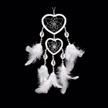 WESTONETEK Handmade Dream Catcher Traditional Dreamcatcher Home Car Hanging Decoration Ornaments Dual Hearts White Feather