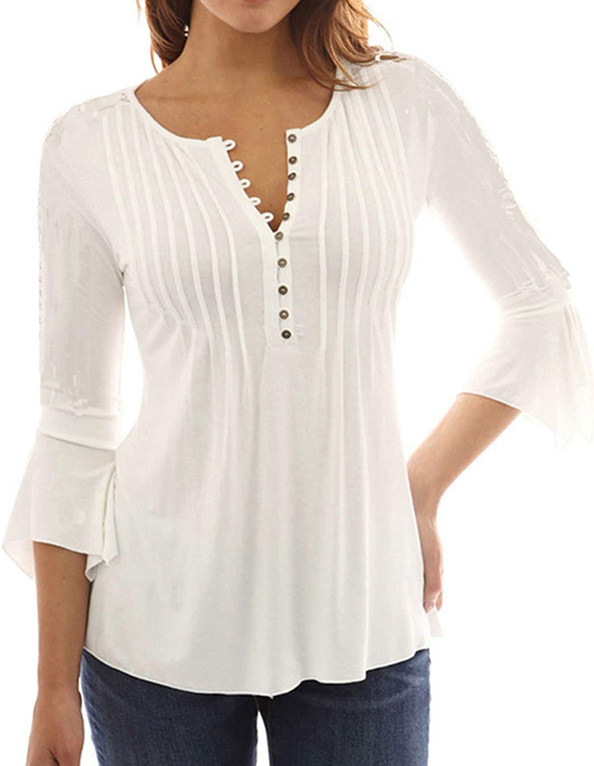 Celmia Women's Fashion Long Sleeve Peasant Tops Ruffled Cuff Buttons Down Blouse