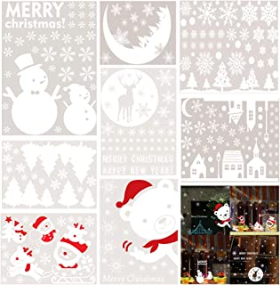Canflo 300 Pcs Christmas Window Clings Christmas Static Stickers Christmas Snowfakes Santa Claus Elks Moon Christmas Trees Window Stickers Decals for Christmas Window Decorations Ornaments (10 Sheets)