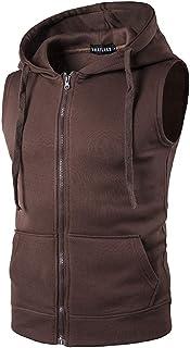 Elonglin Men's Casual Zip-up Vest Tank Hoodies Lightweight Sleeveless Sports Gym Tank Tops