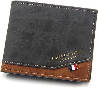 محفظة رجالي من الجلد مع سوستة للعملات المعدنية محافظ للرجال محفظة كروت و نقود مع 2 جيب سوستة (أسود)