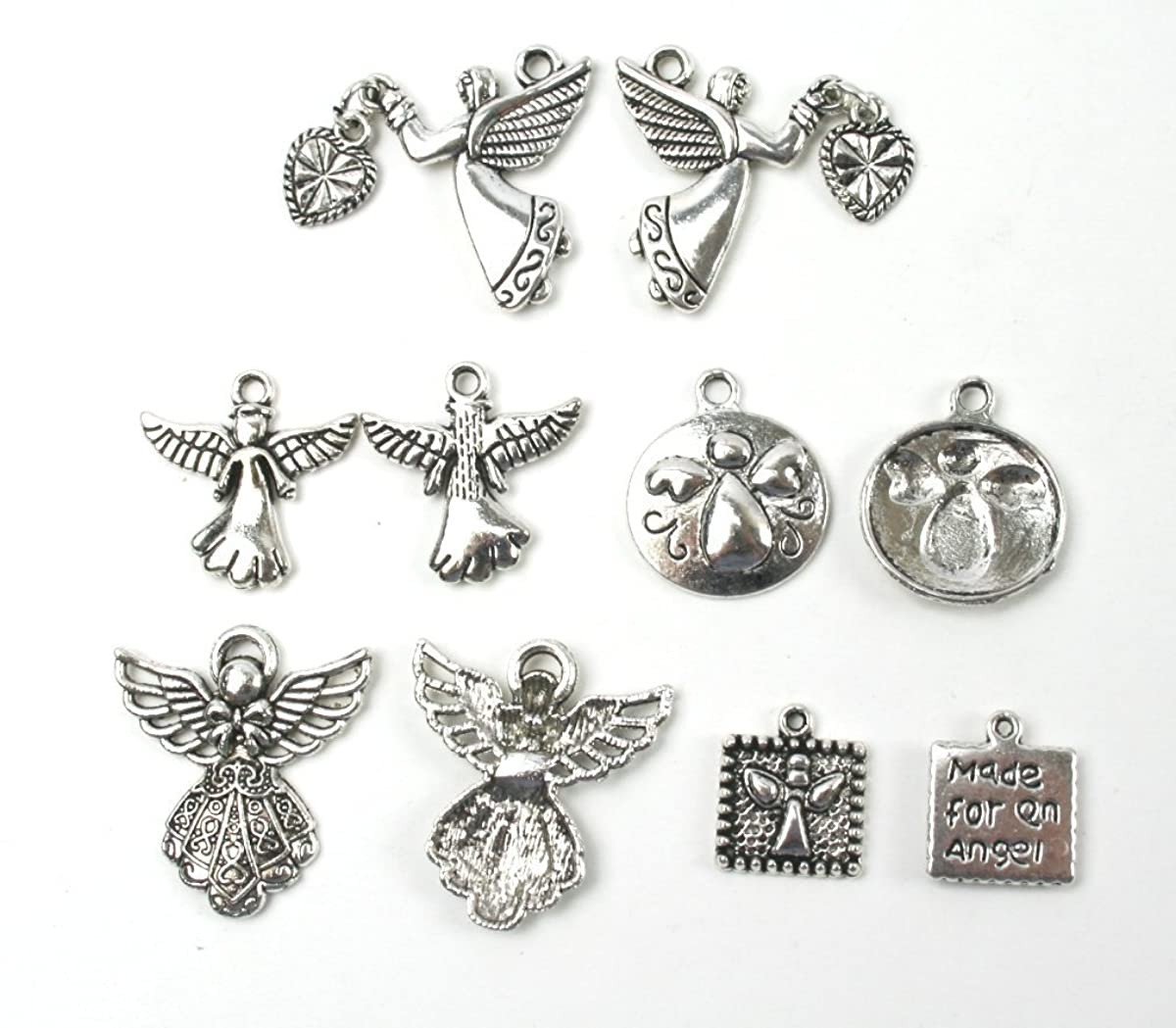 Angel Charms Mixed 50 Pc Set Antiqued Silver Metal with Crafts Kit Storage Container