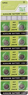 Sixsons 10 Pcs Button Cell Battery AG7 Lithium Battery 1.55V Round Coin Cell Battery For Watch Clocks Controllers Toys LR927 LR57 SR927W 399 GR927 395A Alkaline