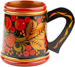 Khokhloma Beer Mug Hand Made in Russia Traditional Tableware Vintage Retro Classic Hohloma Painted Soviet Folk Art Gift Natural Wooden Lacquered