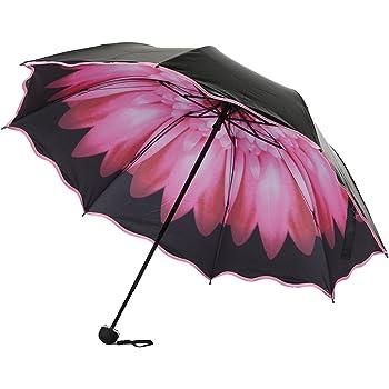 TtKj Folding Umbrella Ultra-Strong Anti-Ultraviolet Sun Umbrella Double-Layer Small Black rain Windproof Umbrella 10860102cm