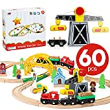 TOY Life Wooden Train Set 60pcs - Wood Train Set for Boys & Girls with...