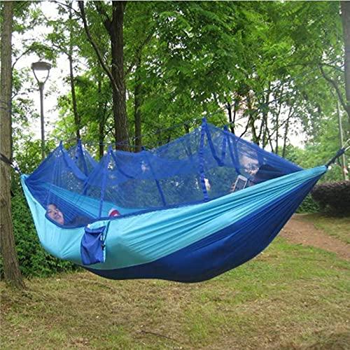 XYZLEO Hamaca para Acampar al Aire Libre - Hamaca Doble o Individual con Mosquitera Hamaca Colgante para Arbol, Hamaca de Viaje, Hamacas de Jardín