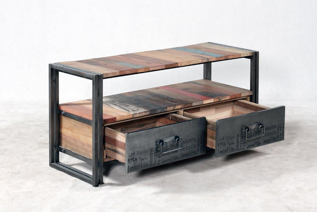 Mueble TV 2 cajones 112 x 40 x 55 Estilo Industrial de Madera de Barco Reciclado.: Amazon.es: Electrónica