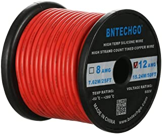 BNTECHGO 12 Gauge Silicone Wire Spool 50 ft Red Flexible 12 AWG Stranded Tinned Copper Wire