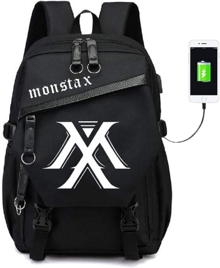 JUSTGOGO Popular brand in the world Luminous KPOP MONSTA X Backpack Laptop Coll Cheap bargain Bag Daypack