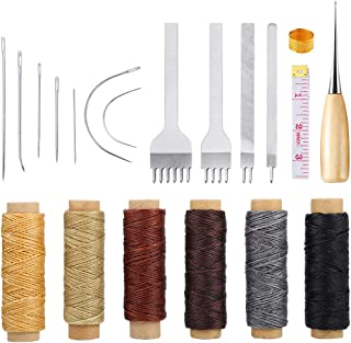 Caydo 20 Pieces Leather Sewing Tools with Hand Sewing Needles, Waxed Thread, 4 mm Leather Prong Punch, Awl and Thimble for Leather Canvas DIY Sewing and Leather Repair