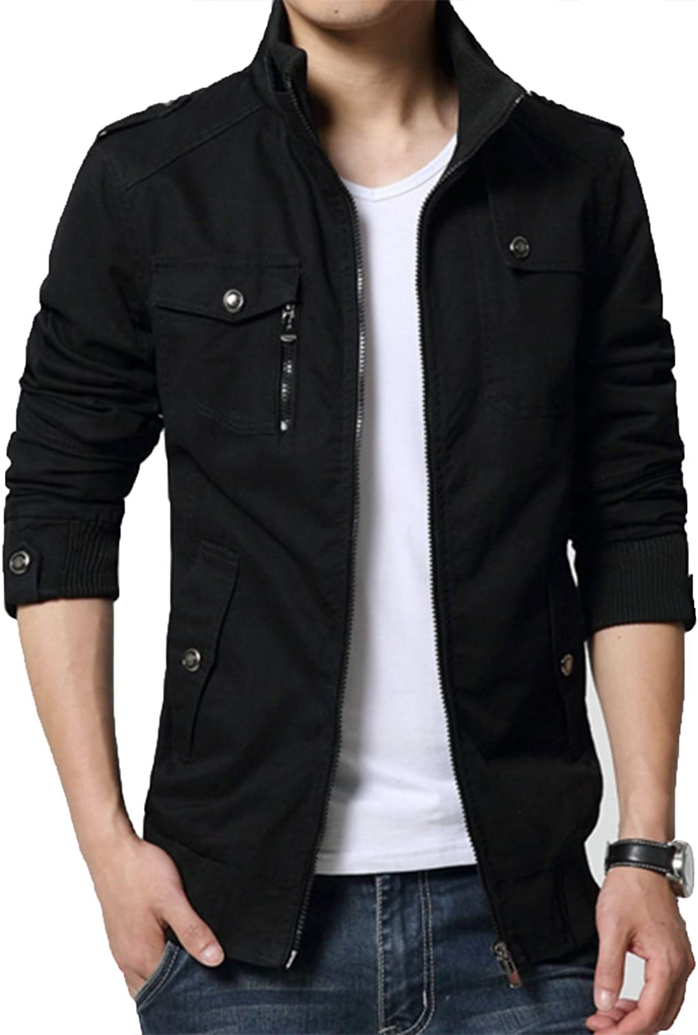 XueYin Men's Solid Cotton Casual Wear Stand Collar Jacket