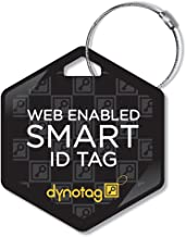 Dynotag Web Enabled Smart Deluxe Steel Property ID Tag + Steel Ring, with DynoIQ & Lifetime Recovery Service. Hexagon (Black)
