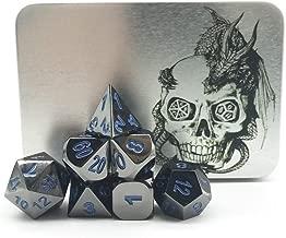 Truewon Metal Dice Set of 7 with Silver Dragon Box (Black Nickel Surface Dark Blue Numbers)