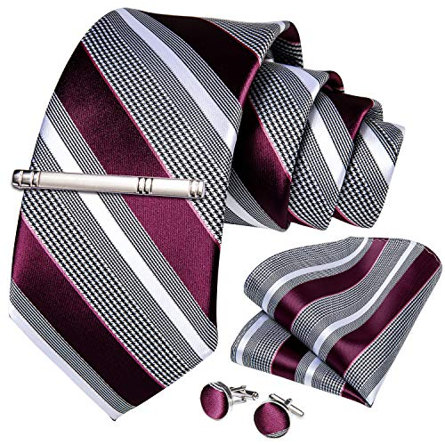 DiBanGu Formal Grey and Burgundy Stripe Necktie Pocket Square Silver Tie Clip Cufflink Set for Men