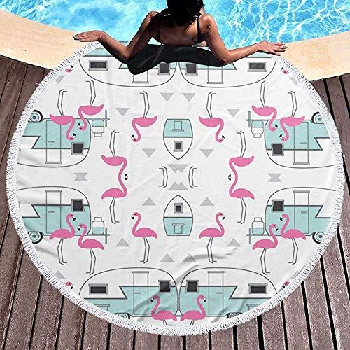 Nazi Mie Anhänger und Flamingos runden Badetuch Decke Picknick Teppich