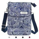 KXF - Petit sac à bandoulière en toile pour téléphone portable - Léger - Avec bandoulière réglable - Pour femme et fille, bleu, Small