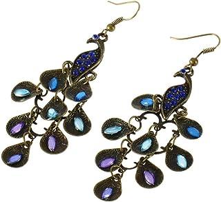 Erduo Frauen Bohemian Style Lady Lange Anhänger Vintage Retro Blau Pfau Ohrringe Einfach Passende Kleidung Fit Für Partys