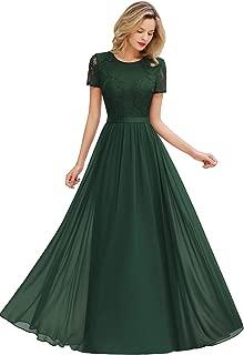 Women's Lace Floral Long Prom Maxi Dress Short Sleeve Evening Formal Dress