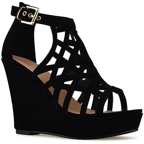 newest designer fashion low price Strappy Platform Black High Heel Sandals: Amazon.com