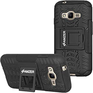 Amzer Slim Protective Shockproof Hybrid Warrior Dual Layer Case Skin for Samsung Galaxy J1 Mini Prime 2016 - Black