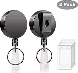 Retractable Badge Holder Reel 2 Pack - Mixoo Heavy Duty Metal ID Badge Holder Key Reel with Belt Clip Key Ring and 27.5 Inch Steel Wire Cord, 6pcs Waterproof Clear Plastic Name Card Holder Included