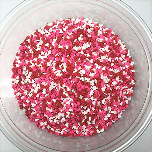 Valentine Hearts Mini Shapes Red White Pink Bakery Topping Sprinkles 1 pound