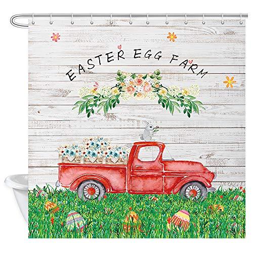 JAWO Oster-Duschvorhang für Badezimmer, Aquarell Kaninchen auf rotem LKW mit Eier auf rustikalem Holz-Polyester-Stoff Badevorhang 182,9 x 182,9 cm Badezimmer Set mit Haken wasserdicht