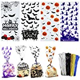 120 PCS Halloween Cellophane Bags Halloween Treat Bags with Ties Trick or Treat Bags for Candy Cookie Goodies Gift Favor Halloween Party Supplies