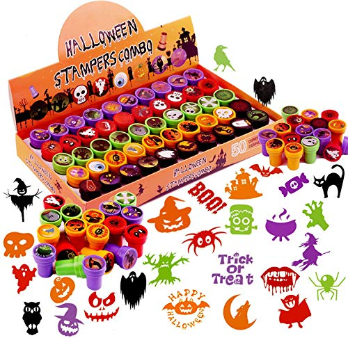 VEYLIN Halloween Self-ink Stamps, Halloween Trick or Treat Small Toys for Kids (50 Different Design)