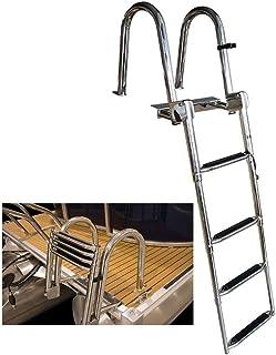 sharprepublic Edelstahl Badeleiter mit 3 Stufen Klappleiter Teleskopleiter Schlauchbootleiter