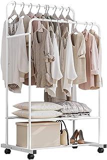 Solerconm Portant des vêtements en métal, Porte Manteau avec Crochets Amovible, penderie de rangements sur roulettes pour ...