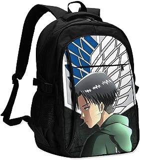 Mochila ligera para portátil con puerto de carga USB para mujer, anime japonés, Levi Ackerman, mochila para portátil, antirrobo, informal, mochila de día